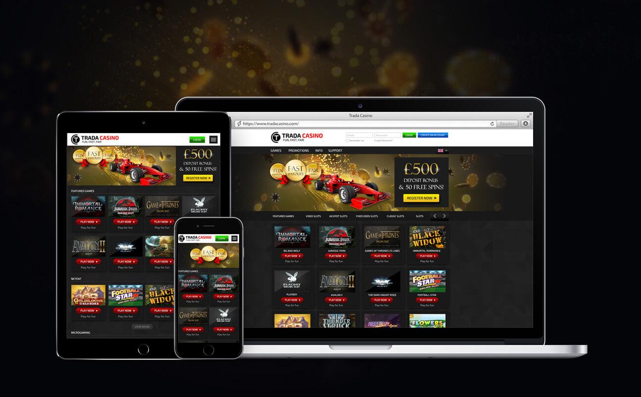 Responsive web design - tradacasino.com