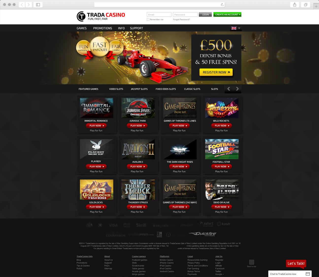 Home Page Design - TradaCasino.com