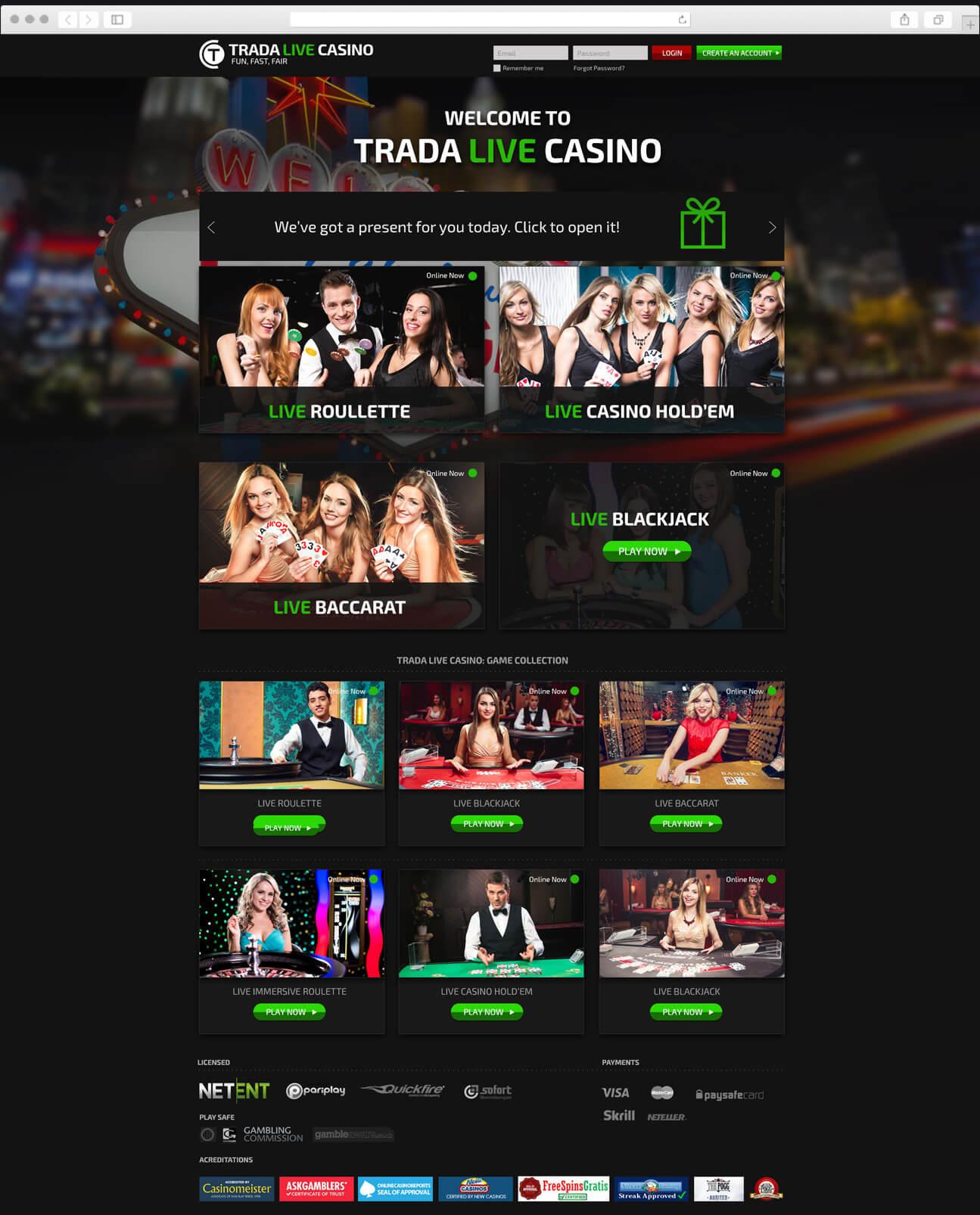Web Design - Trada Live Casino